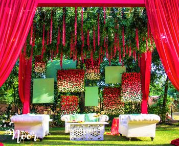 Photo of Gorgeous floral stage backdrop for mehendi