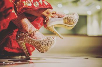 Gold bridal heels with design