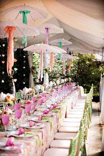 Table Setting with Suspended Lace Umbrellas