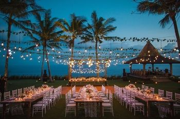 A stunning beach reception decor.