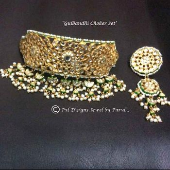Photo of artificial polki kundan choker bridal necklace set