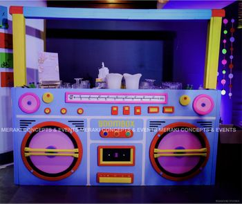 Unique radio themed bar set up for a cocktail party