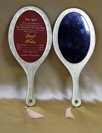 Wedding card shaped like hand mirror