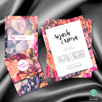 Floral print bright weddinf inviation cards