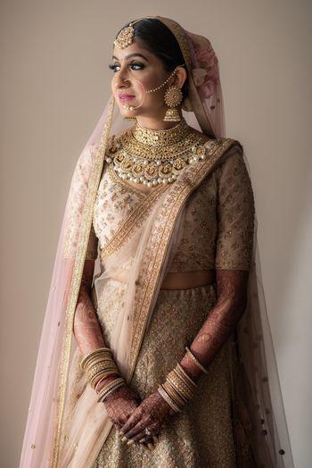 Pastel bride in bold bib necklace