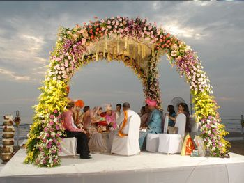 Photo of Floral beach side mandap decor