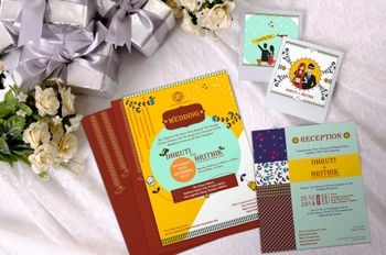 Colorful and fun wedding invites