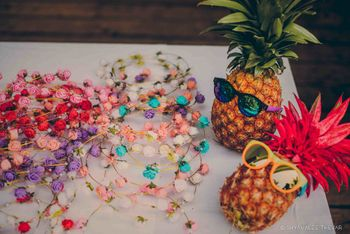 Floral headbands as mehendi give aways