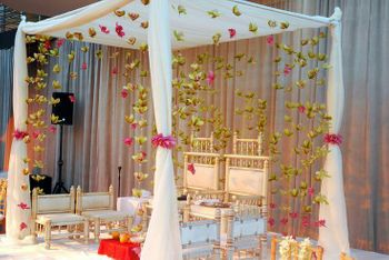 Mandap with drapes and floral strings