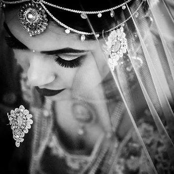 Wedding day bridal black and white portrait top shot