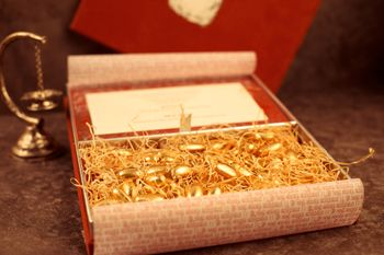 Gold Invitations & Favors Photo Gold coated almonds