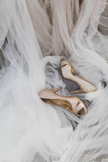 Photo of Gold bridal heels peep toes