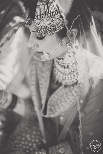 Photo of Black and white bridal portrait bride wearing jhoomer