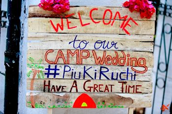 DIY welcome sign for camp wedding