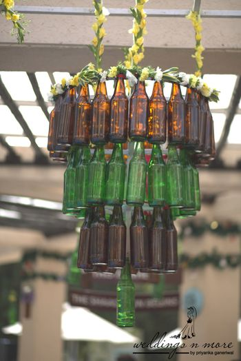 Glass bottle chandelier