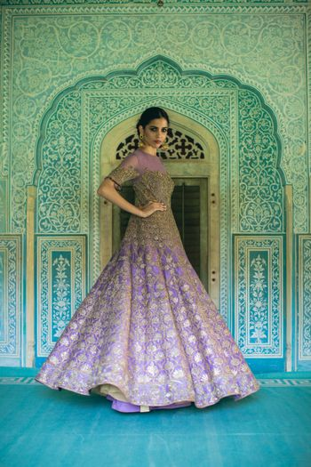 Photo of Sangeet outfit lavender Anarkali with gota work