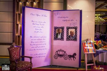 Huge book with personalised message and pictures as decor element