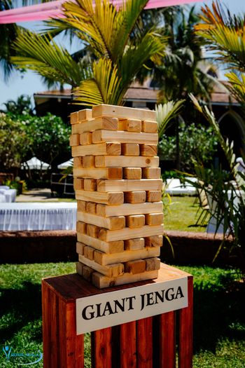 Giant Jenga game for the guests.