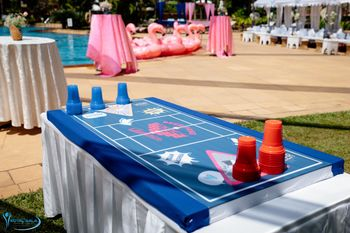 Beer Pong game at a pool party.