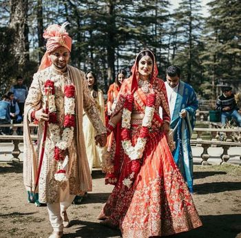 Color coordinated bride and groom on their wedding day