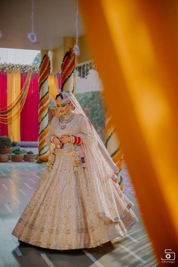 Pastel bridal lehenga for Sikh bride