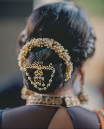 Bridal bun with unique hair accessory