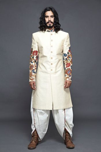 Off White Sherwani with Embroidered Sleeves and Dhoti