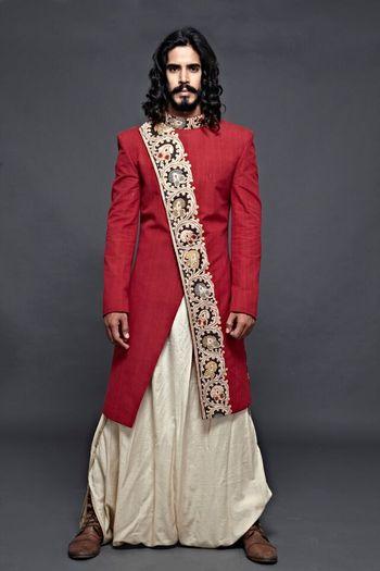 Red Asymmetric Sherwani with Dhoti