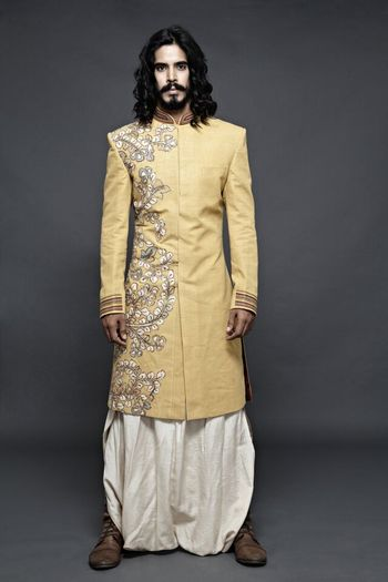 Beige Embroidered Sherwani with White Dhoti
