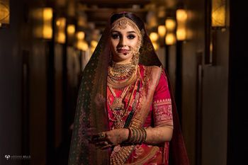 Fusion bridal look with layered jewellery
