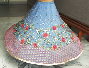 big flowers lehenga