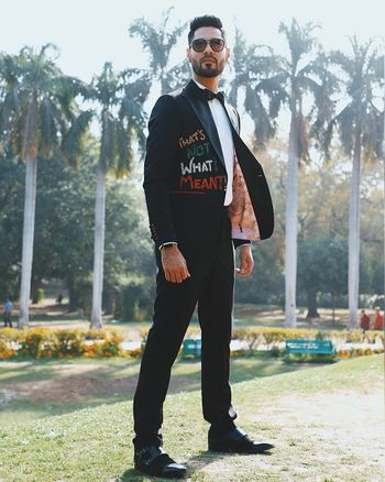 Unique personalised tuxedo jacket for quirky groom