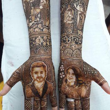 Bride and groom mehendi portrait
