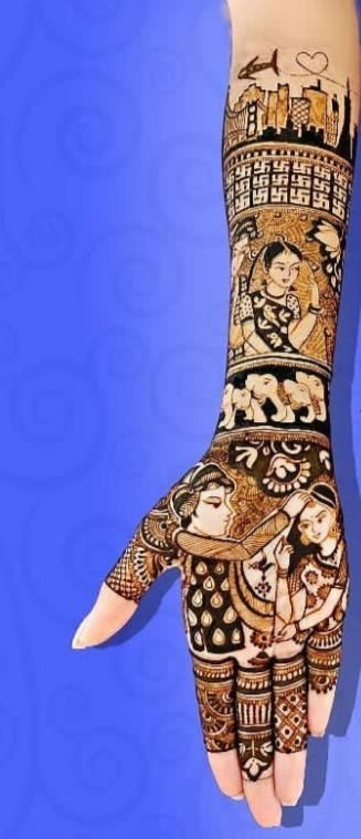 A traditional mehndi design depicting the bride and groom's love story and journey.