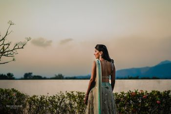 Bridal back shot in engagement lehenga