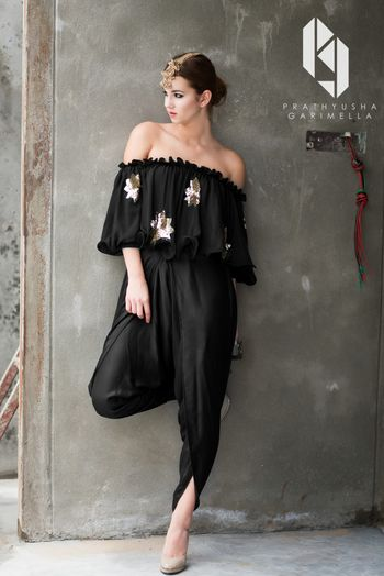 Photo of Black off shoulder blouse with dhoti