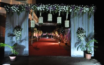 white  flower decorated entrance