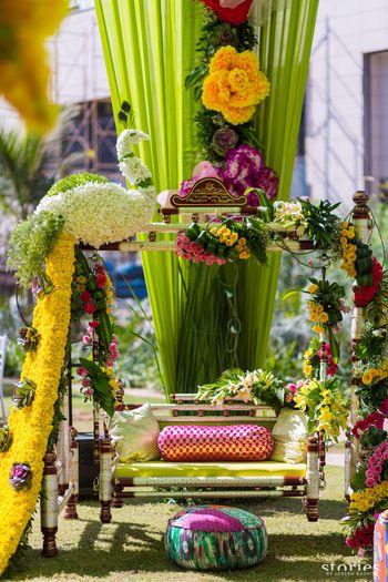 Photo of Unique mehendi swing decor for bride