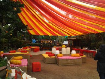 Photo of orange and yellow drapes