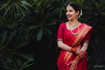 A south Indian bride in red saree