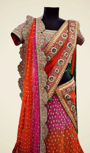 Photo of orange and pink lehenga