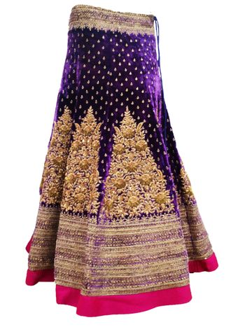 Photo of purple velvet lehenga with zardozi work