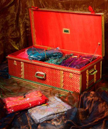 Bridal trousseau packaging in red