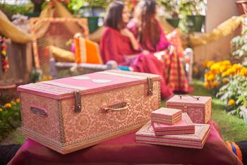 Bridal trousseau trunk and set in pink