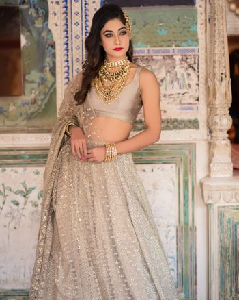 Girly silver lehenga with sequin work
