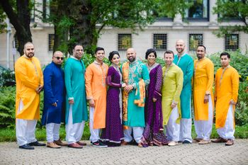 Photo of colour coordinated brides / grooms team