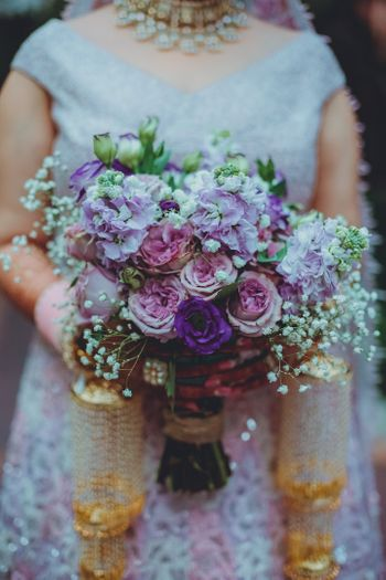 unique purple bridal bouquet for bride
