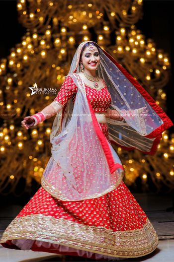 Bright and happy twirling bride
