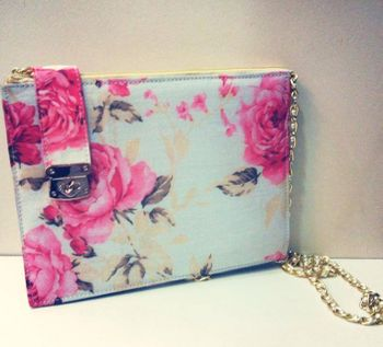 floral printed clutch bag