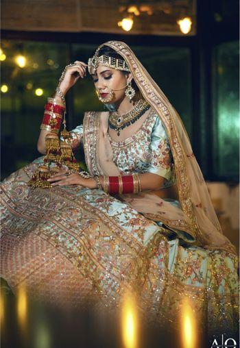 Offbeat bride in bridal portrait idea
